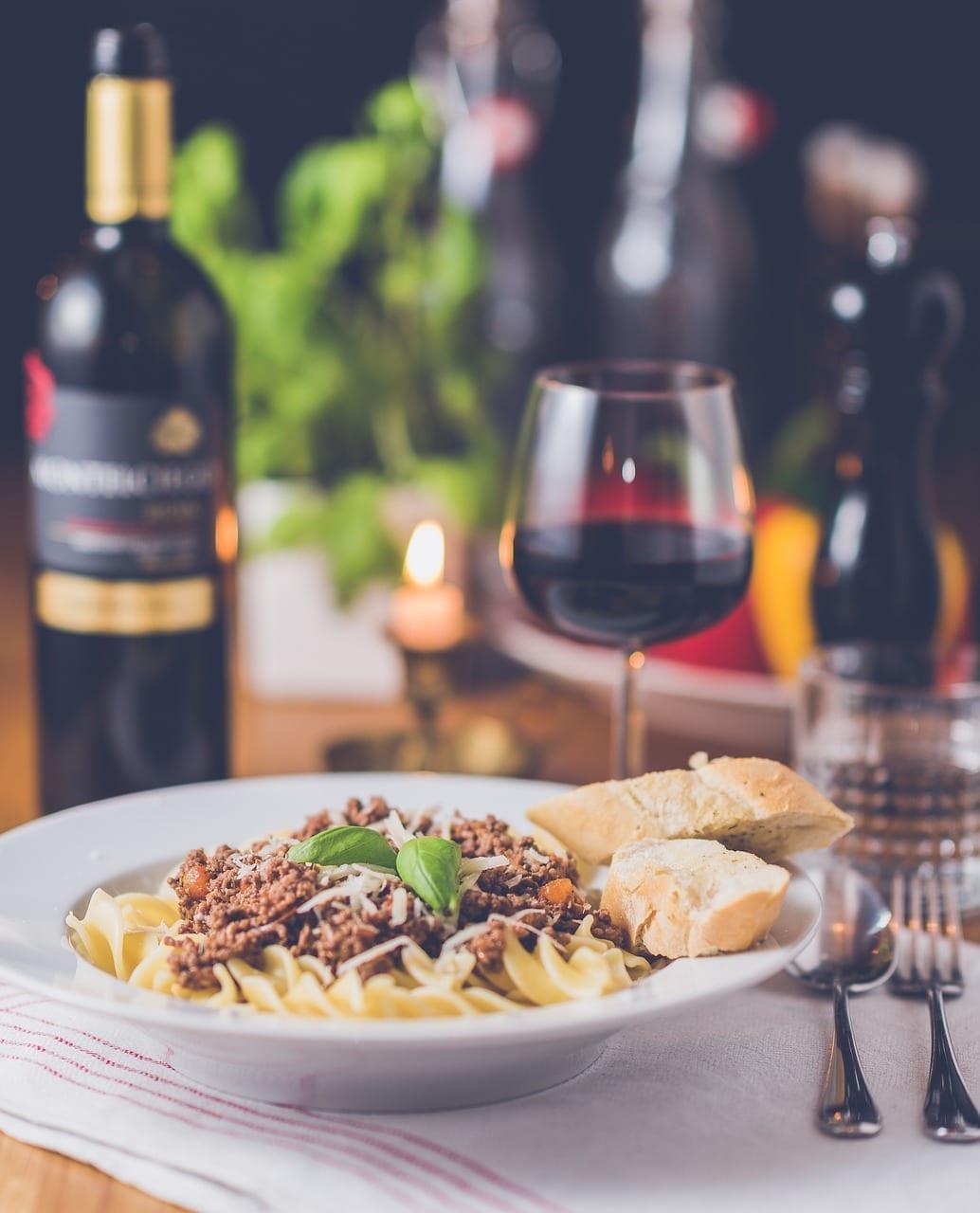 maridaje de vinos plato pasta
