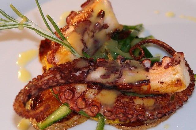 Tentáculos de pulpo en un plato