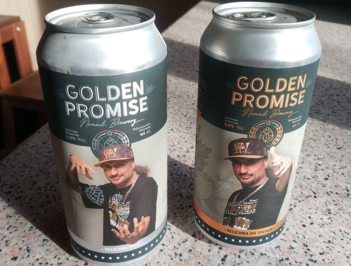 Latas de las cervezas Golden Promise con Sho-Hai