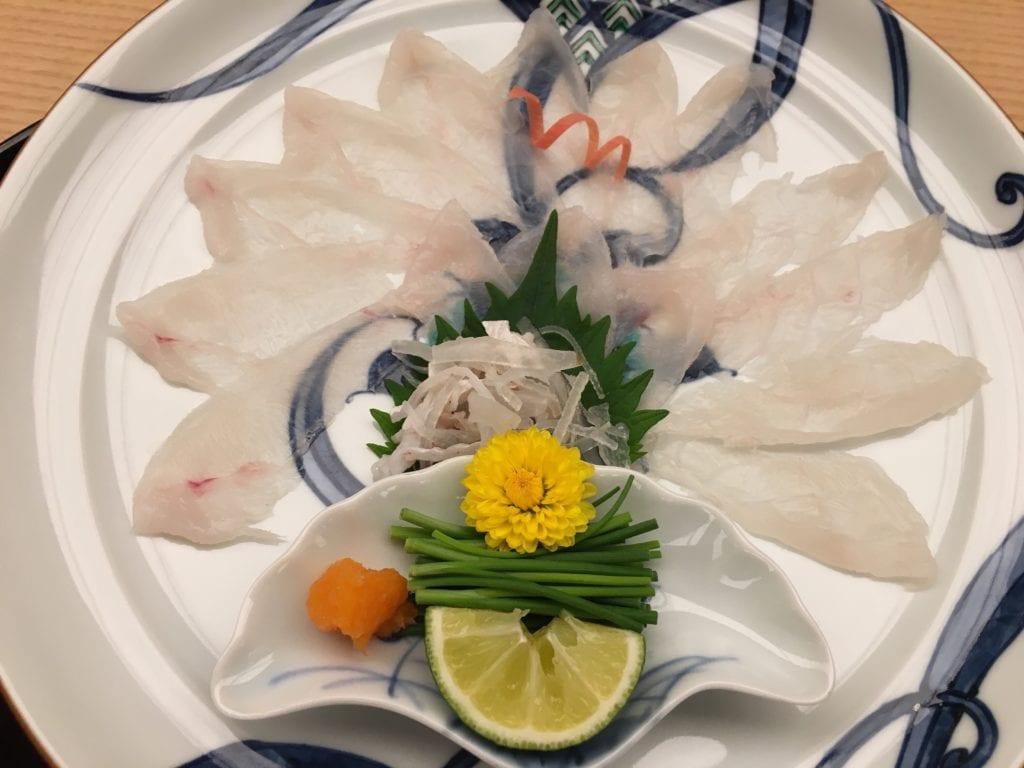Sashimi de pez globo