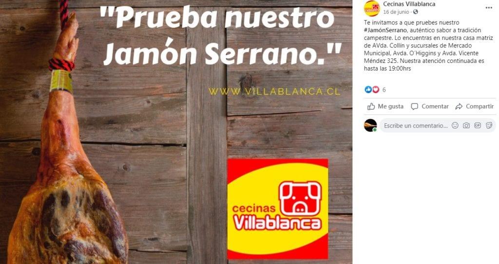 Jamón Serrano elaborado por Cecinas Villablanca-Chile