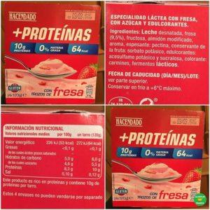 información nutricional del yogur proteico de mercadona