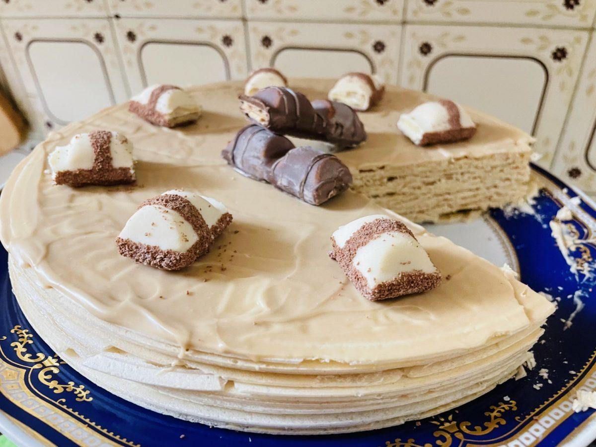 tarta de obleas y crema de avellanas de mercadona